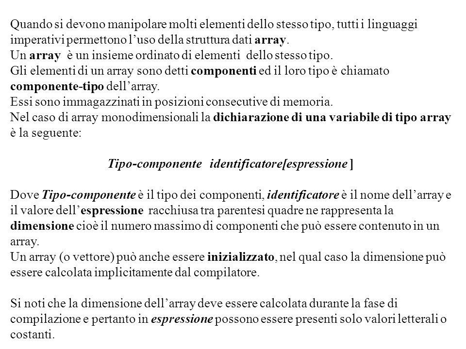 Programmazione Mod A - Cap 2 - prof. Burattini 49 Quando si devono manipolare molti elementi dello stesso tipo, tutti i linguaggi imperativi permetton