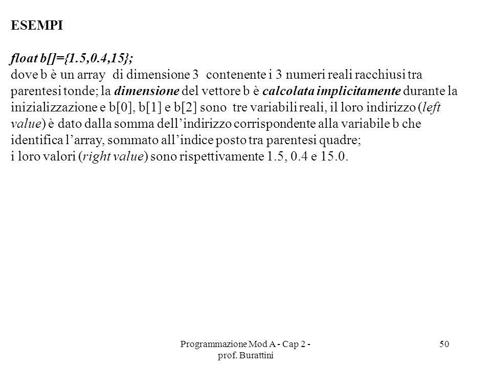 Programmazione Mod A - Cap 2 - prof. Burattini 50 ESEMPI float b[]={1.5,0.4,15}; dove b è un array di dimensione 3 contenente i 3 numeri reali racchiu