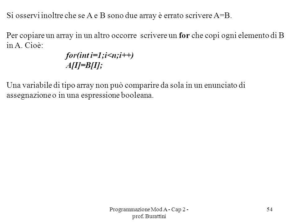 Programmazione Mod A - Cap 2 - prof. Burattini 54 Si osservi inoltre che se A e B sono due array è errato scrivere A=B. Per copiare un array in un alt