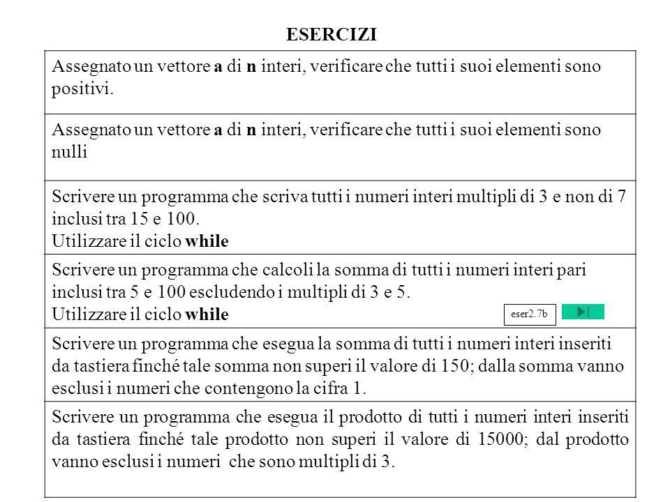 Programmazione Mod A - Cap 2 - prof. Burattini 55 ESERCIZI Assegnato un vettore a di n interi, verificare che tutti i suoi elementi sono positivi. Ass