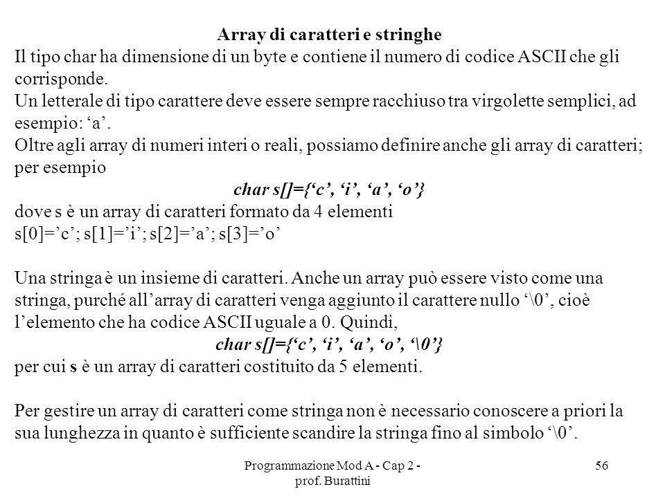 Programmazione Mod A - Cap 2 - prof. Burattini 56 Array di caratteri e stringhe Il tipo char ha dimensione di un byte e contiene il numero di codice A