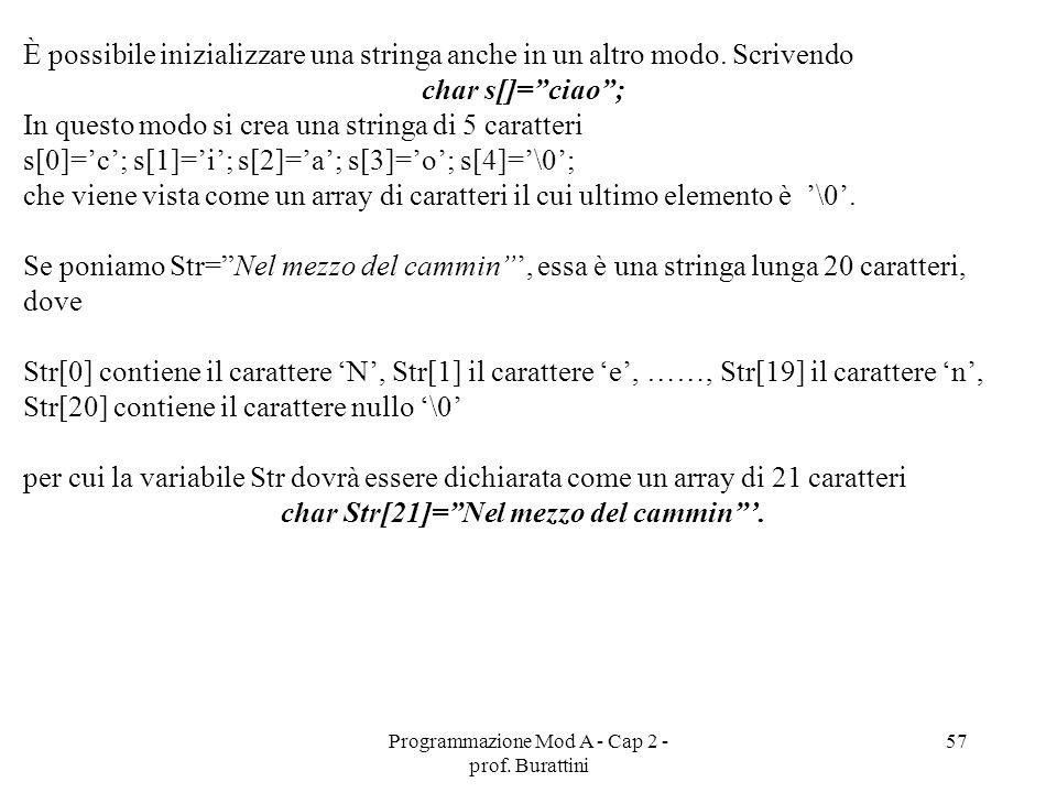 Programmazione Mod A - Cap 2 - prof. Burattini 57 È possibile inizializzare una stringa anche in un altro modo. Scrivendo char s[]=ciao; In questo mod