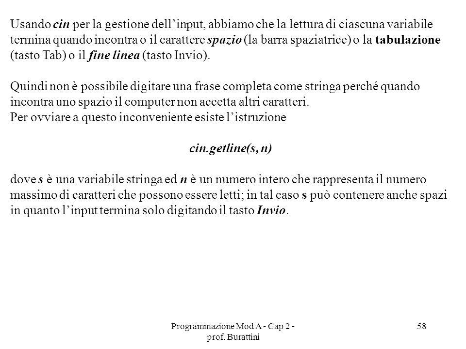 Programmazione Mod A - Cap 2 - prof. Burattini 58 Usando cin per la gestione dellinput, abbiamo che la lettura di ciascuna variabile termina quando in