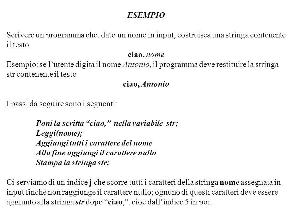 Programmazione Mod A - Cap 2 - prof. Burattini 59 ESEMPIO Scrivere un programma che, dato un nome in input, costruisca una stringa contenente il testo