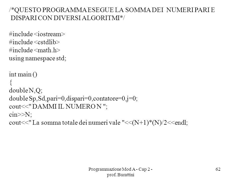 Programmazione Mod A - Cap 2 - prof. Burattini 62 /*QUESTO PROGRAMMA ESEGUE LA SOMMA DEI NUMERI PARI E DISPARI CON DIVERSI ALGORITMI*/ #include using