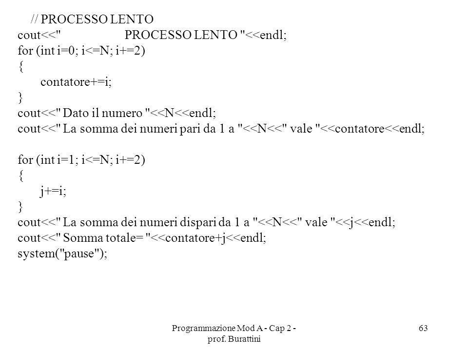 Programmazione Mod A - Cap 2 - prof. Burattini 63 // PROCESSO LENTO cout<<