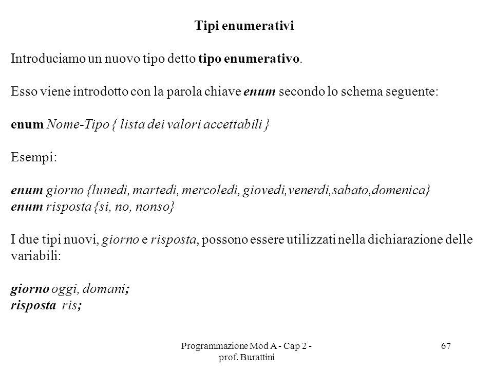 Programmazione Mod A - Cap 2 - prof. Burattini 67 Tipi enumerativi Introduciamo un nuovo tipo detto tipo enumerativo. Esso viene introdotto con la par