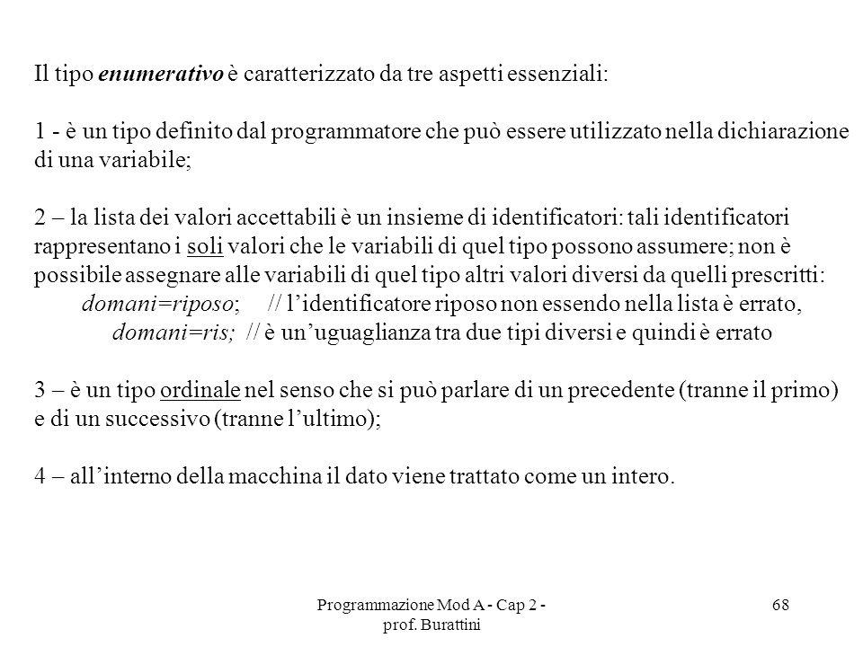 Programmazione Mod A - Cap 2 - prof. Burattini 68 Il tipo enumerativo è caratterizzato da tre aspetti essenziali: 1 - è un tipo definito dal programma