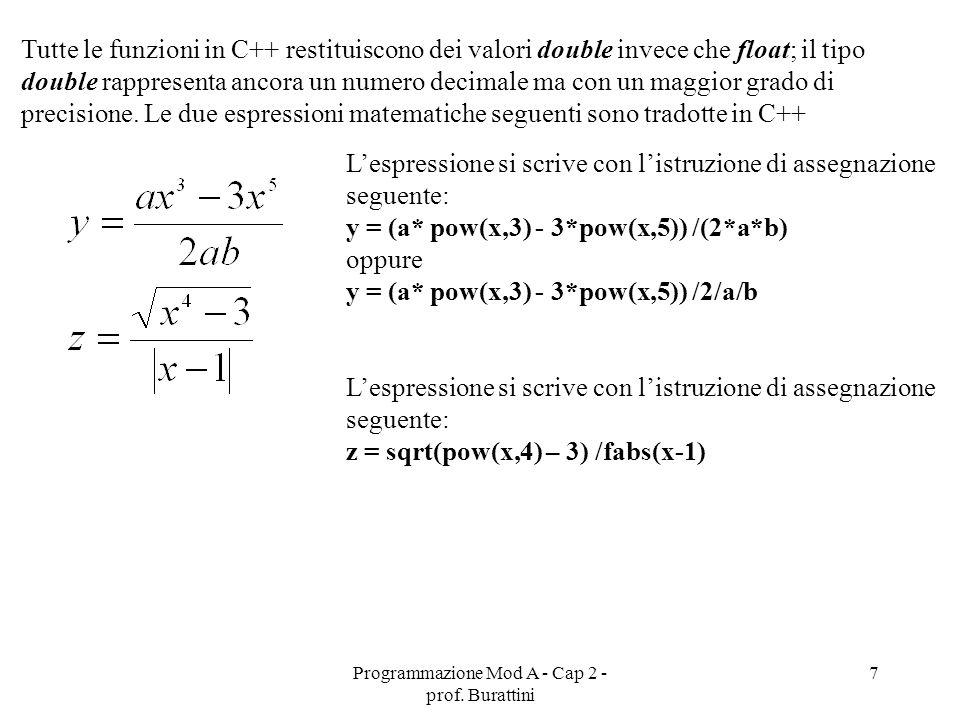 Programmazione Mod A - Cap 2 - prof. Burattini 7 Tutte le funzioni in C++ restituiscono dei valori double invece che float; il tipo double rappresenta