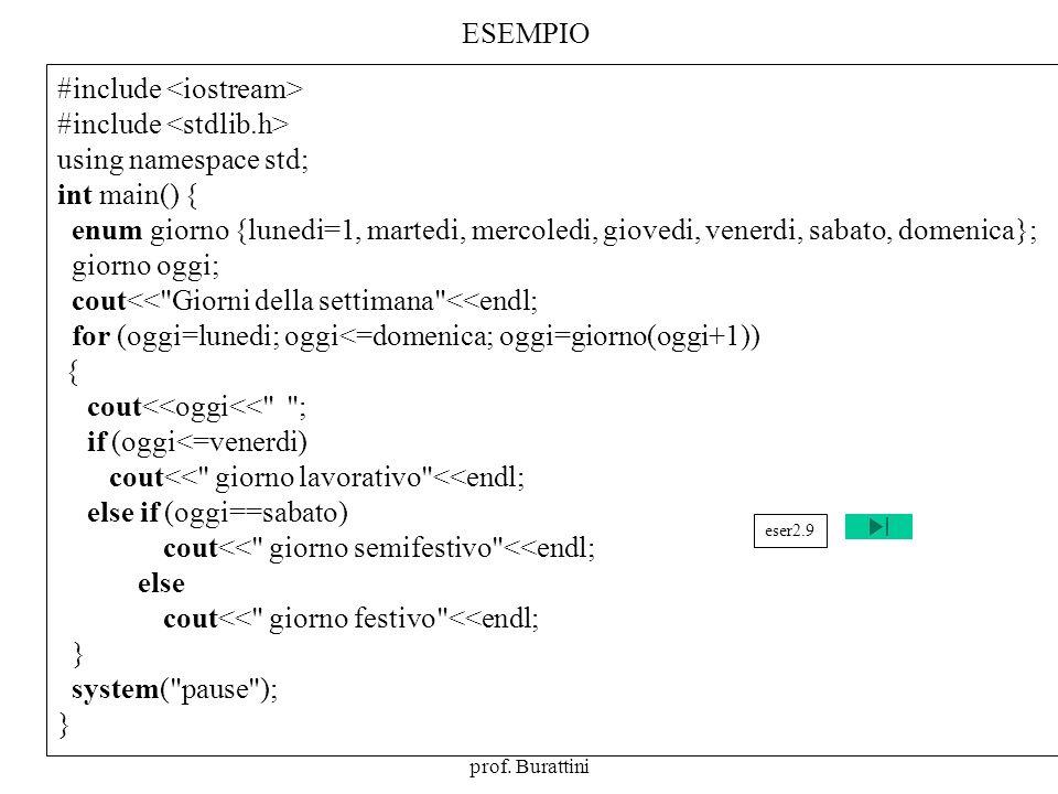 Programmazione Mod A - Cap 2 - prof. Burattini 71 ESEMPIO #include using namespace std; int main() { enum giorno {lunedi=1, martedi, mercoledi, gioved
