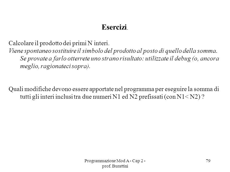 Programmazione Mod A - Cap 2 - prof. Burattini 79 Esercizi. Calcolare il prodotto dei primi N interi. Viene spontaneo sostituire il simbolo del prodot