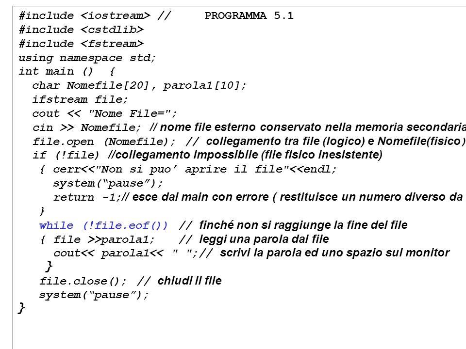 Programmazione Mod A - Cap 5 - prof. Burattini 11 #include //PROGRAMMA 5.1 #include using namespace std; int main () { char Nomefile[20], parola1[10];