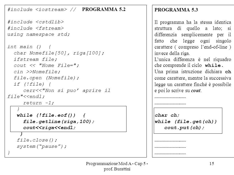 Programmazione Mod A - Cap 5 - prof. Burattini 15 #include // PROGRAMMA 5.2 #include using namespace std; int main () { char Nomefile[50], riga[100];