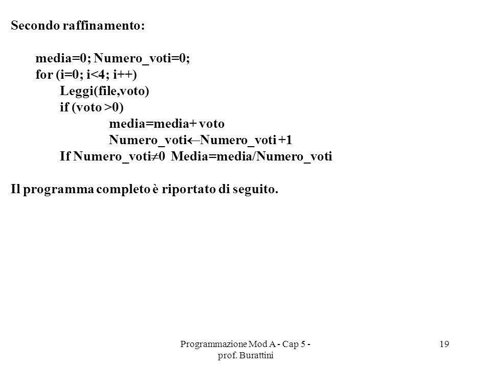 Programmazione Mod A - Cap 5 - prof. Burattini 19 Secondo raffinamento: media=0; Numero_voti=0; for (i=0; i<4; i++) Leggi(file,voto) if (voto >0) medi