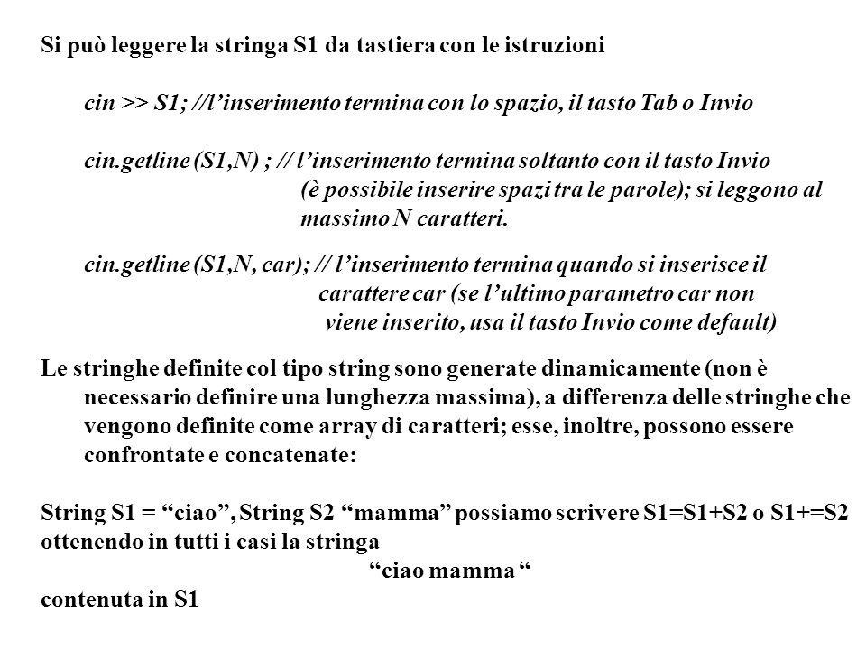 Programmazione Mod A - Cap 5 - prof. Burattini 28 Si può leggere la stringa S1 da tastiera con le istruzioni cin >> S1; //linserimento termina con lo