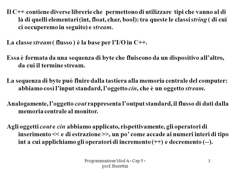 Programmazione Mod A - Cap 5 - prof. Burattini 3 Il C++ contiene diverse librerie che permettono di utilizzare tipi che vanno al di là di quelli eleme