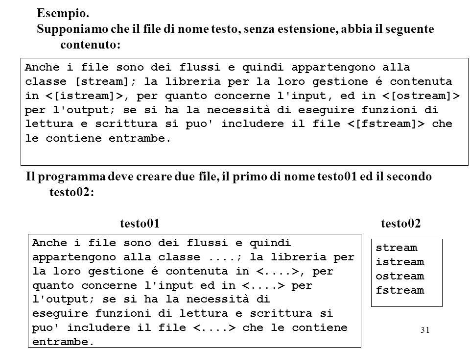 Programmazione Mod A - Cap 5 - prof. Burattini 31 Esempio. Supponiamo che il file di nome testo, senza estensione, abbia il seguente contenuto: Il pro