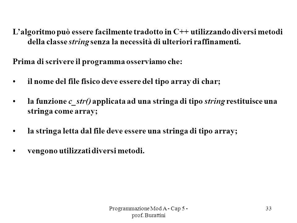 Programmazione Mod A - Cap 5 - prof. Burattini 33 Lalgoritmo può essere facilmente tradotto in C++ utilizzando diversi metodi della classe string senz