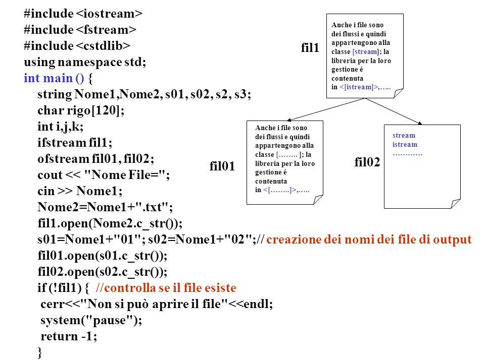 Programmazione Mod A - Cap 5 - prof. Burattini 34 #include using namespace std; int main () { string Nome1,Nome2, s01, s02, s2, s3; char rigo[120]; in