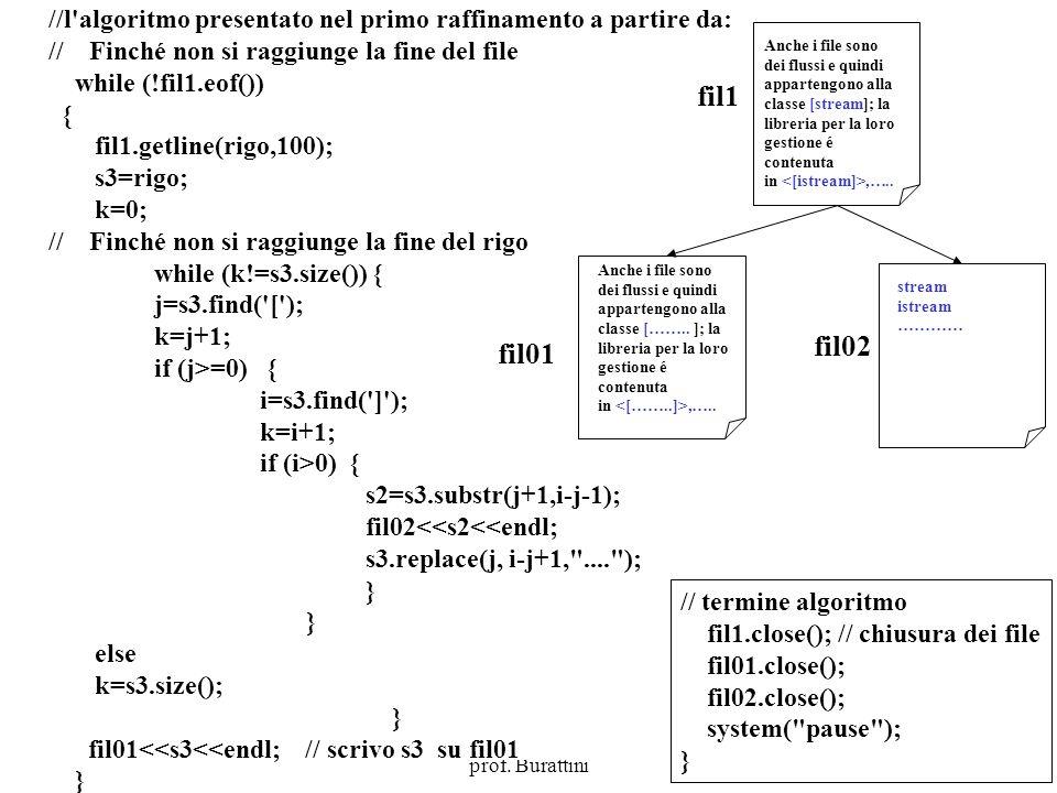 Programmazione Mod A - Cap 5 - prof. Burattini 35 //l'algoritmo presentato nel primo raffinamento a partire da: // Finché non si raggiunge la fine del