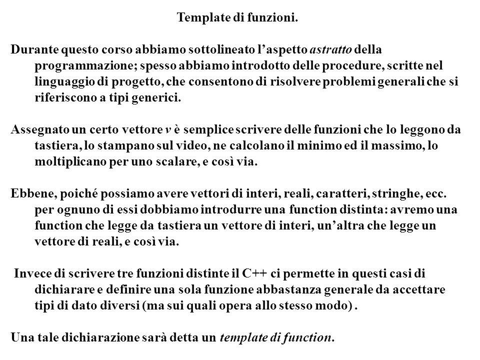 Programmazione Mod A - Cap 5 - prof. Burattini 37 Template di funzioni. Durante questo corso abbiamo sottolineato laspetto astratto della programmazio