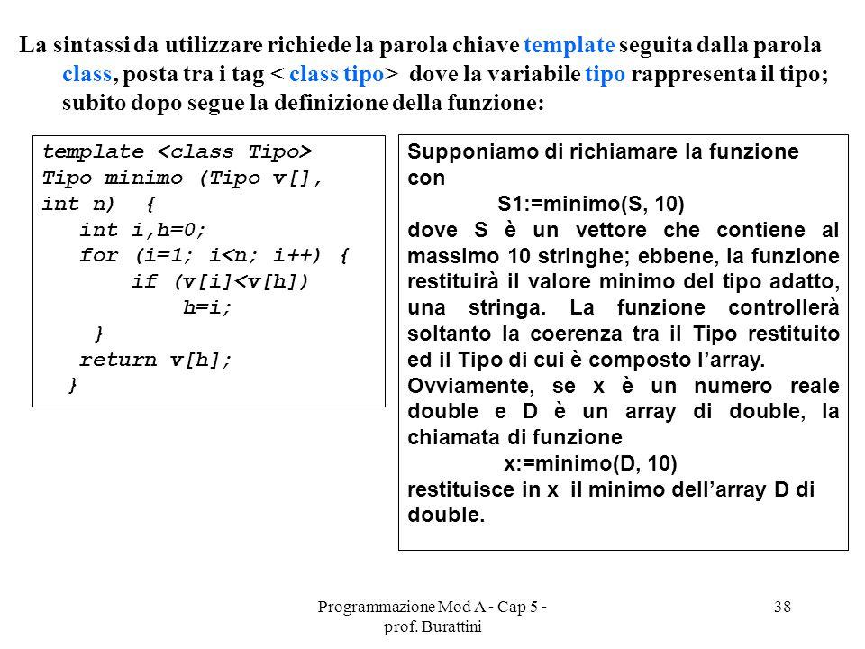 Programmazione Mod A - Cap 5 - prof. Burattini 38 La sintassi da utilizzare richiede la parola chiave template seguita dalla parola class, posta tra i