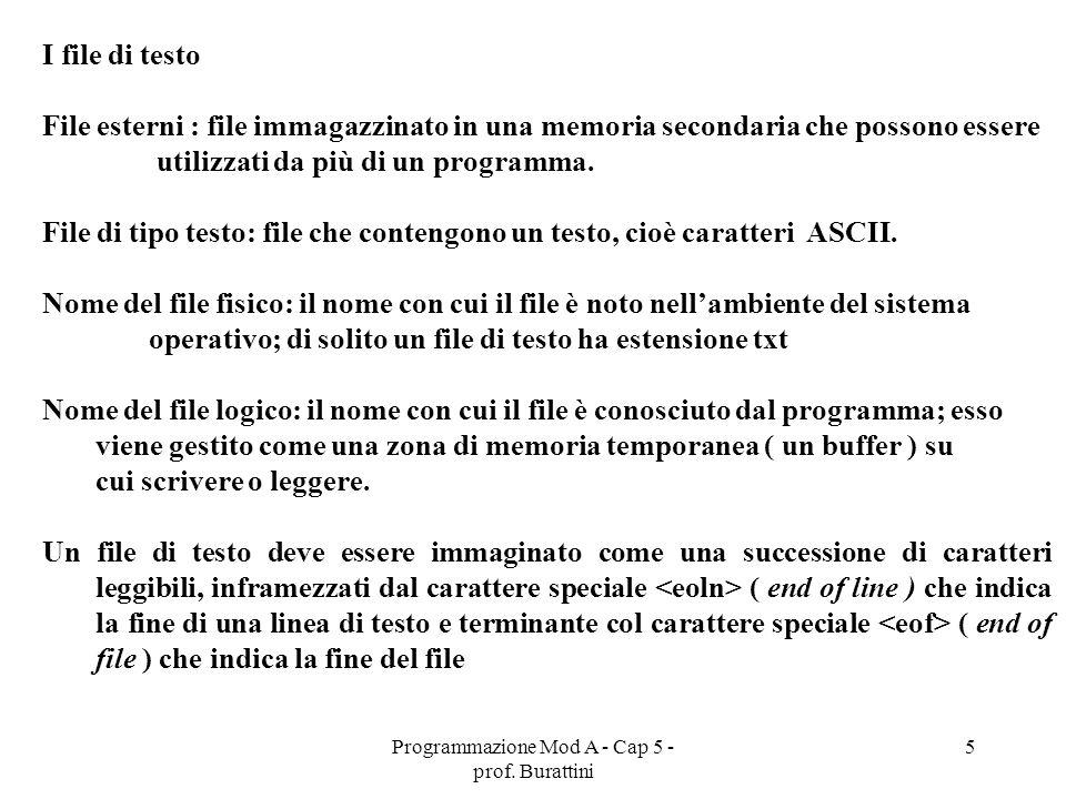 Programmazione Mod A - Cap 5 - prof. Burattini 5 I file di testo File esterni : file immagazzinato in una memoria secondaria che possono essere utiliz