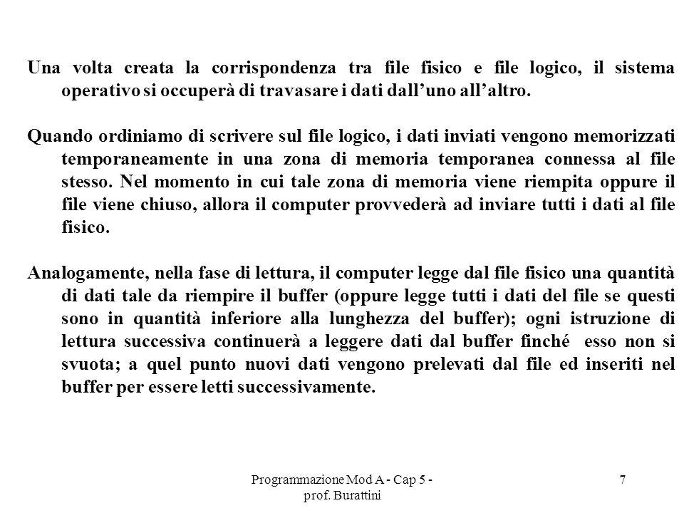 Programmazione Mod A - Cap 5 - prof. Burattini 7 Una volta creata la corrispondenza tra file fisico e file logico, il sistema operativo si occuperà di