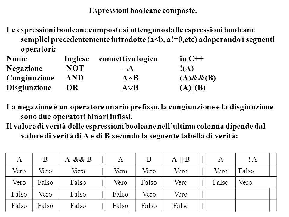 Programmazione Mod A - Cap 4 - prof. Burattini 11 Espressioni booleane composte. Le espressioni booleane composte si ottengono dalle espressioni boole