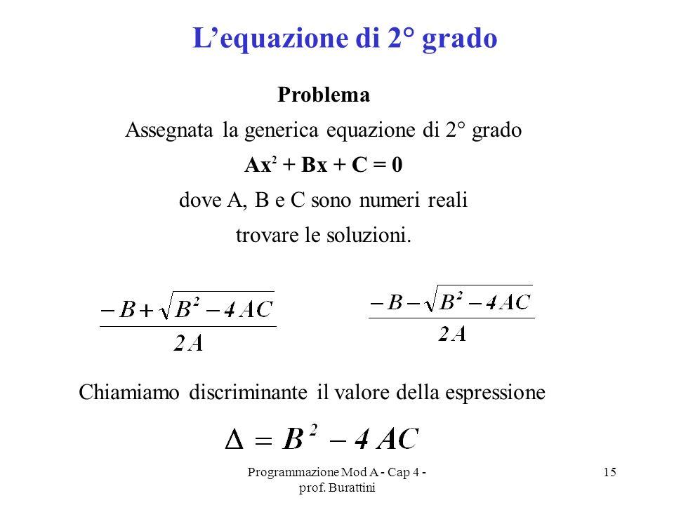 Programmazione Mod A - Cap 4 - prof. Burattini 15 Lequazione di 2° grado Problema Assegnata la generica equazione di 2° grado Ax 2 + Bx + C = 0 dove A