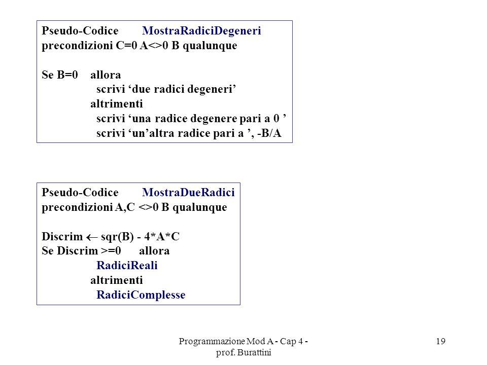 Programmazione Mod A - Cap 4 - prof. Burattini 19 Pseudo-Codice MostraRadiciDegeneri precondizioni C=0 A<>0 B qualunque Se B=0 allora scrivi due radic