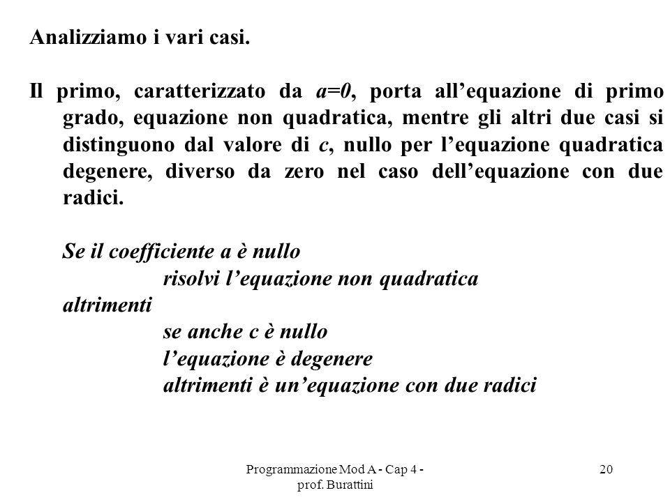 Programmazione Mod A - Cap 4 - prof. Burattini 20 Analizziamo i vari casi. Il primo, caratterizzato da a=0, porta allequazione di primo grado, equazio