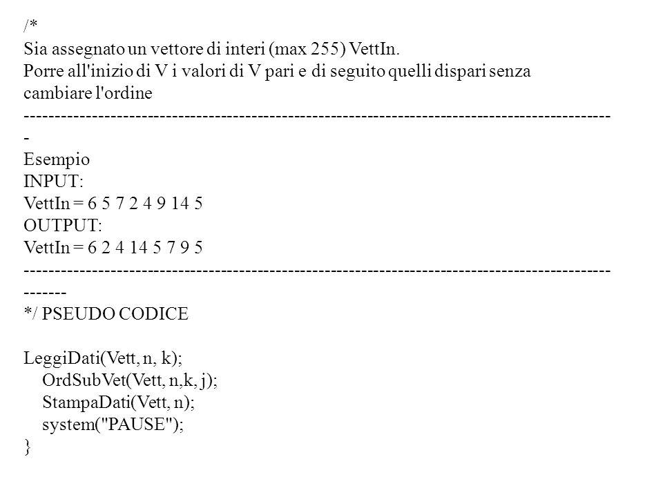 Programmazione Mod A - Cap 4 - prof. Burattini 26 /* Sia assegnato un vettore di interi (max 255) VettIn. Porre all'inizio di V i valori di V pari e d