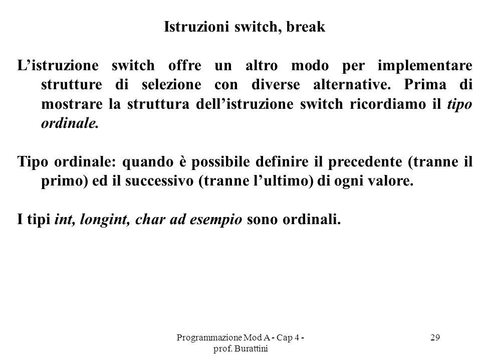 Programmazione Mod A - Cap 4 - prof. Burattini 29 Istruzioni switch, break Listruzione switch offre un altro modo per implementare strutture di selezi