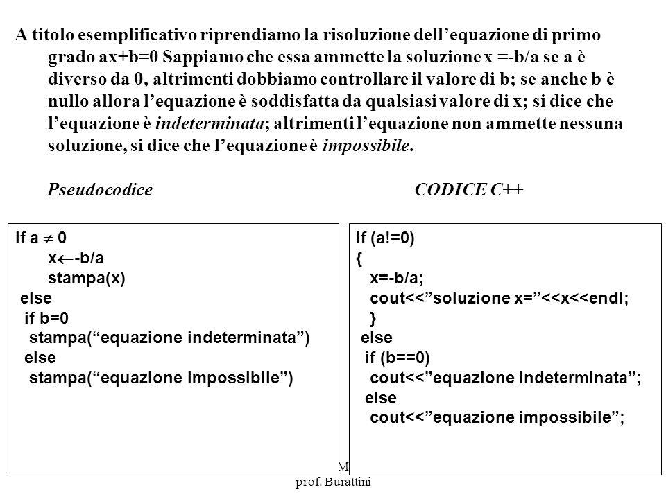 Programmazione Mod A - Cap 4 - prof. Burattini 3 A titolo esemplificativo riprendiamo la risoluzione dellequazione di primo grado ax+b=0 Sappiamo che