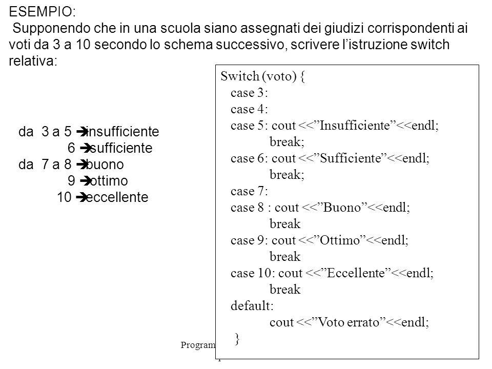 Programmazione Mod A - Cap 4 - prof. Burattini 31 ESEMPIO: Supponendo che in una scuola siano assegnati dei giudizi corrispondenti ai voti da 3 a 10 s