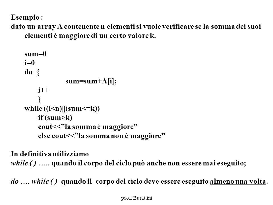 Programmazione Mod A - Cap 4 - prof. Burattini 35 Esempio : dato un array A contenente n elementi si vuole verificare se la somma dei suoi elementi è
