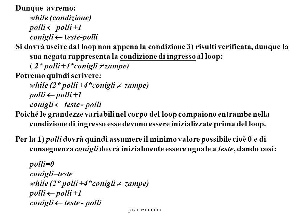 Programmazione Mod A - Cap 4 - prof. Burattini 39 Dunque avremo: while (condizione) polli polli +1 conigli teste-polli Si dovrà uscire dal loop non ap