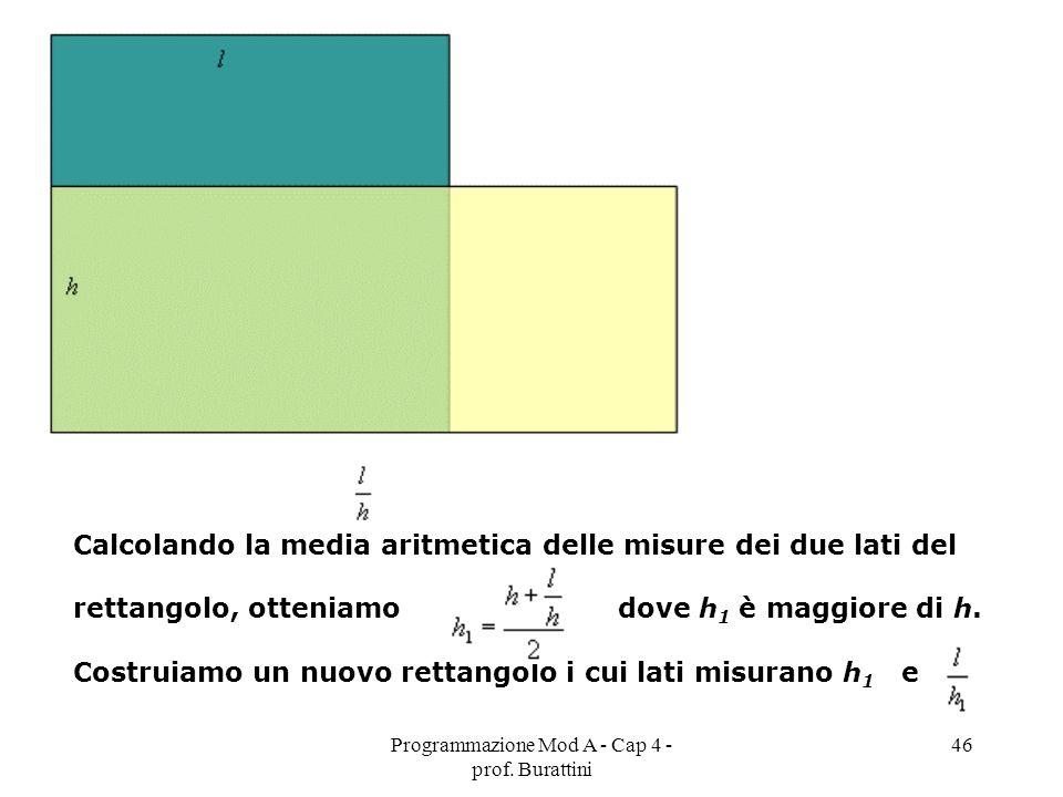 Programmazione Mod A - Cap 4 - prof. Burattini 46 Calcolando la media aritmetica delle misure dei due lati del rettangolo, otteniamo dove h 1 è maggio