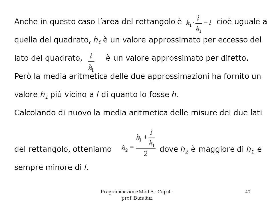 Programmazione Mod A - Cap 4 - prof. Burattini 47 Anche in questo caso larea del rettangolo è cioè uguale a quella del quadrato, h 1 è un valore appro
