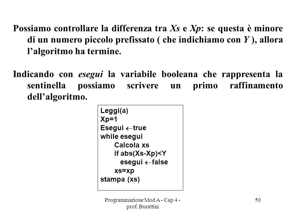 Programmazione Mod A - Cap 4 - prof. Burattini 50 Possiamo controllare la differenza tra Xs e Xp: se questa è minore di un numero piccolo prefissato (