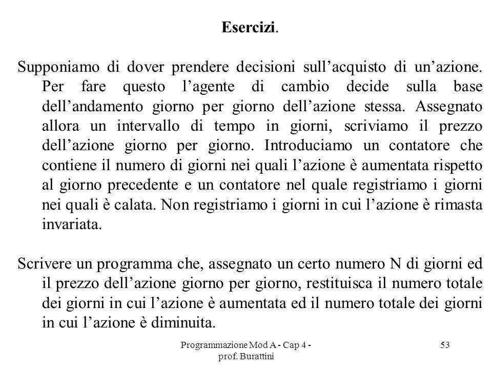 Programmazione Mod A - Cap 4 - prof. Burattini 53 Esercizi. Supponiamo di dover prendere decisioni sullacquisto di unazione. Per fare questo lagente d