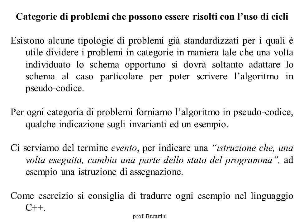 Programmazione Mod A - Cap 4 - prof. Burattini 54 Categorie di problemi che possono essere risolti con luso di cicli Esistono alcune tipologie di prob
