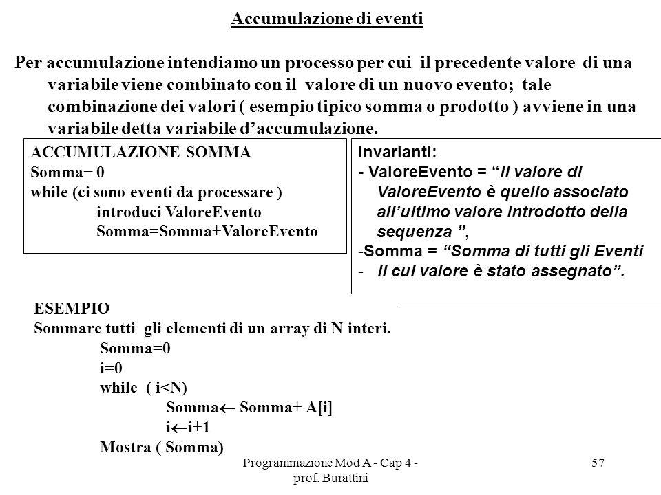 Programmazione Mod A - Cap 4 - prof. Burattini 57 Accumulazione di eventi Per accumulazione intendiamo un processo per cui il precedente valore di una