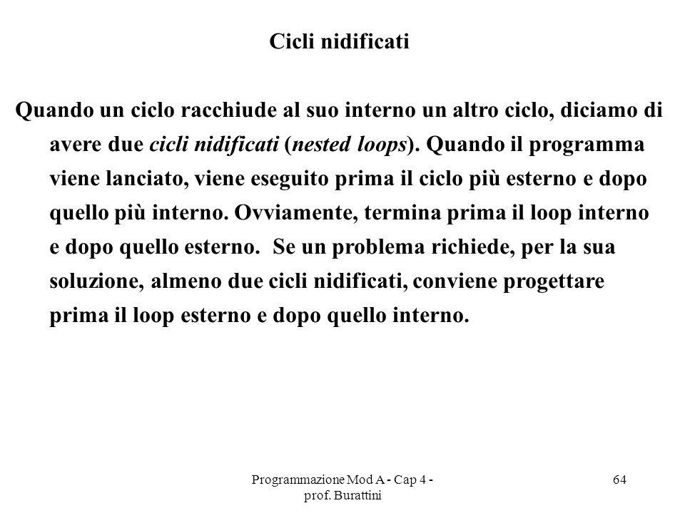 Programmazione Mod A - Cap 4 - prof. Burattini 64 Cicli nidificati Quando un ciclo racchiude al suo interno un altro ciclo, diciamo di avere due cicli