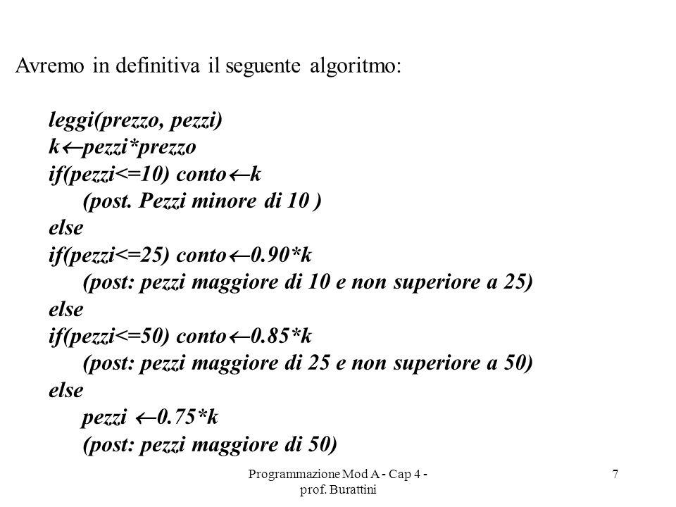 Programmazione Mod A - Cap 4 - prof. Burattini 7 Avremo in definitiva il seguente algoritmo: leggi(prezzo, pezzi) k pezzi*prezzo if(pezzi<=10) conto k