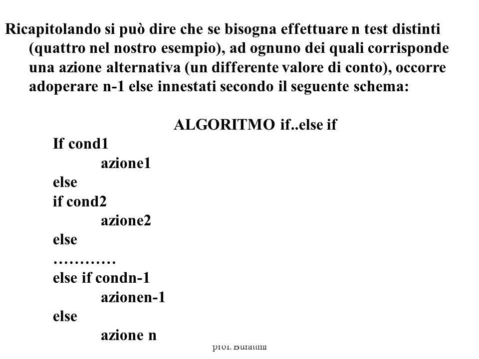 Programmazione Mod A - Cap 4 - prof. Burattini 8 Ricapitolando si può dire che se bisogna effettuare n test distinti (quattro nel nostro esempio), ad