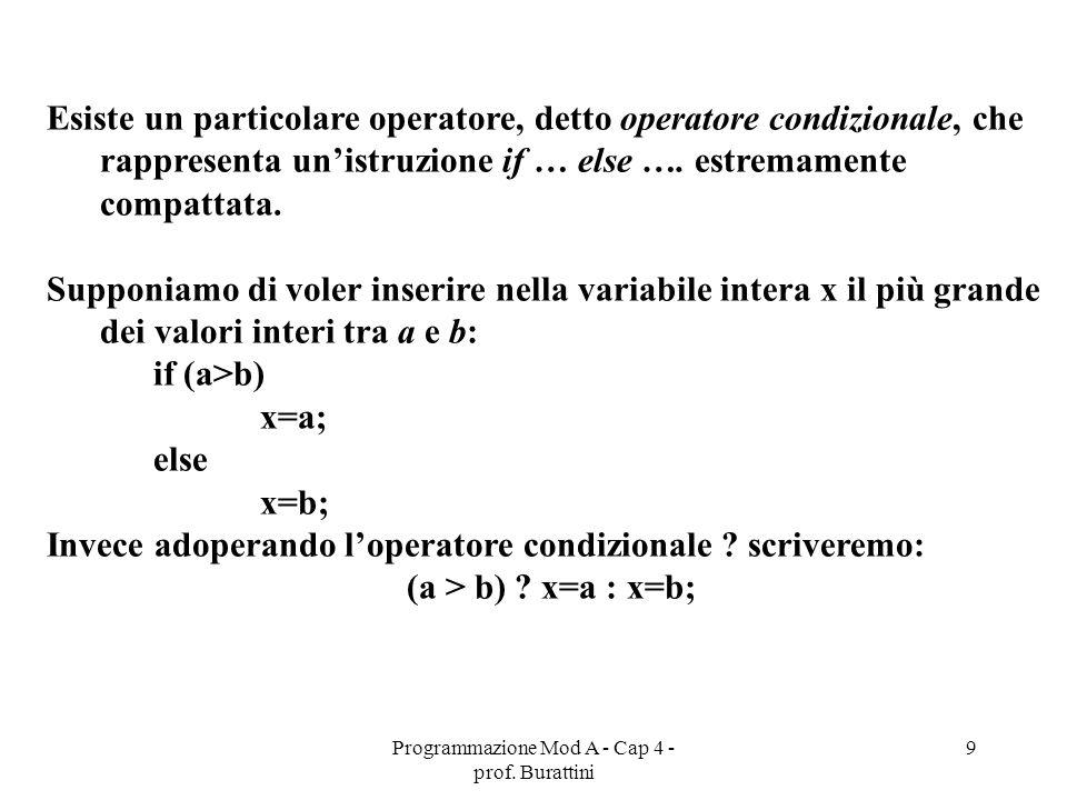 Programmazione Mod A - Cap 4 - prof. Burattini 9 Esiste un particolare operatore, detto operatore condizionale, che rappresenta unistruzione if … else
