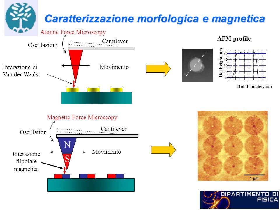 Caratterizzazione morfologica e magnetica Oscillazioni Movimento Cantilever Atomic Force Microscopy Interazione di Van der Waals AFM profile 0 15 30 4