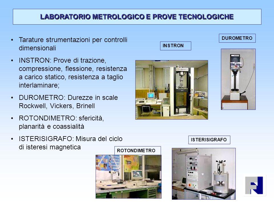 Tarature strumentazioni per controlli dimensionali INSTRON: Prove di trazione, compressione, flessione, resistenza a carico statico, resistenza a tagl